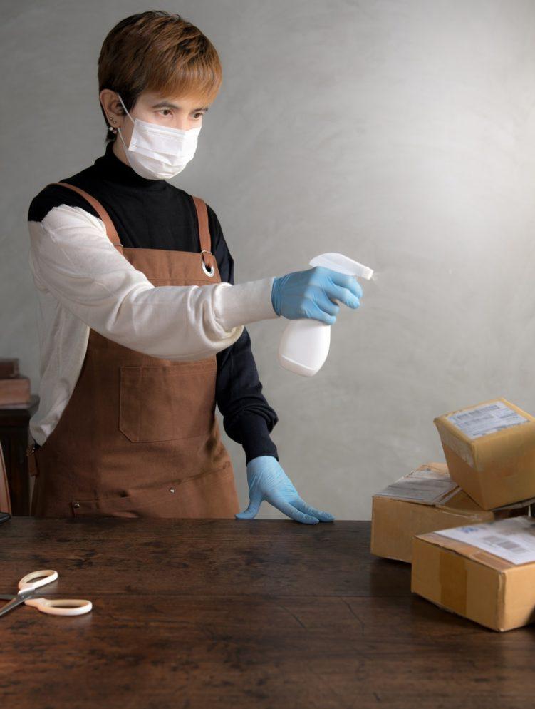 Spraying disinfectant, Coronavirus (covid-19)